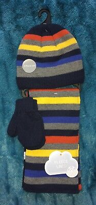 George Boys Hat, Scarf And Mitten Set Fleece Lined Age 1-3 Years