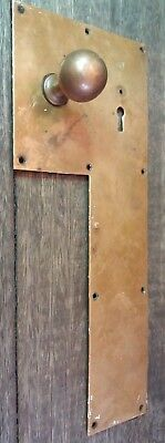 Door Finger Back Push Plate & Knob Vintage Period Old Brass Handle Hotel Salvage