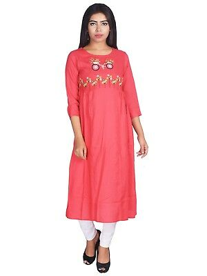 Kurti Rayon embroidery  Indian Women Ethnic Designer Bollywood Tunic New Style