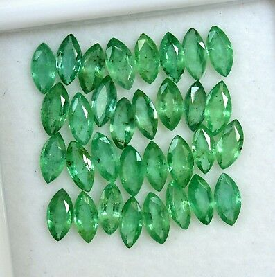 Natural Emerald Marquise Cut 6x3 mm Lot 32 Pcs 6.68 Cts Untreated Loose Gemstone