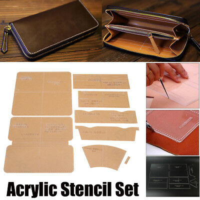 Leather Craft Clear Acrylic Wallet Bag Mould Pattern Stencil Template Set DIY AU