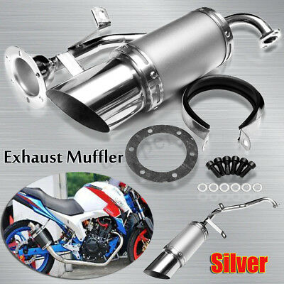 Perform Exhaust  Muffler Pipe Silver For GY6 125 150cc 4 Stroke Chinese Scooter
