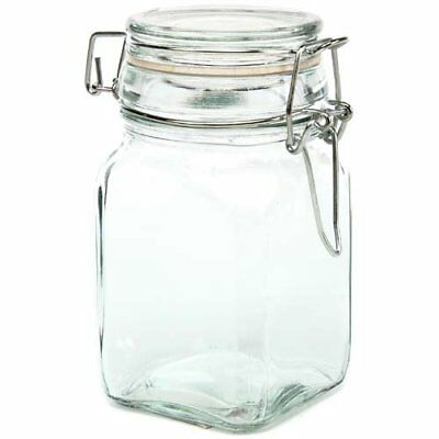 "Creative Hobbies Glass Jars w/ Locking Lid -4.75"" H X 2.5"" Square -Holds 7 Fl Oz"
