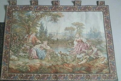 """Antique 19c Aubusson French Tapestry Beautiful Color Rcae View 34""""X48""""(Cm 86×122"""