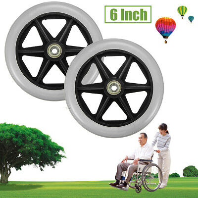 2Pcs 6'' Front & Rear Wheel Replacement Part for Rollator Walker Drive Medical