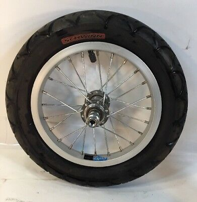 """JOGGER Bicycle Front ALLOY Wheel 12.5"""" WITH SCHWINN TIRE BIKE BABY TREND BOLT ON"""