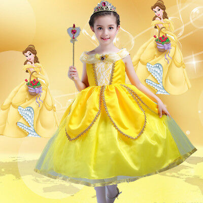 2018 Beauty& the Beast Princess Belle Childrens Girls Fancy Dress Costume Outfit
