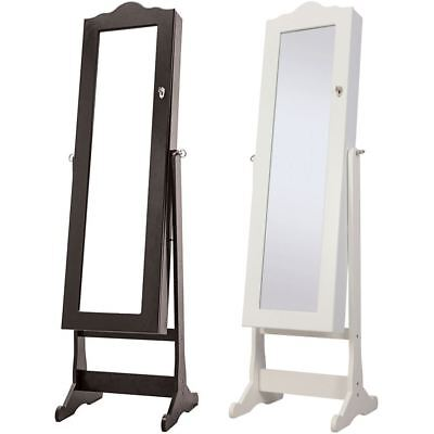 Nishano Jewellery Cabinet Floor Standing Mirror Storage Bedroom Black Large