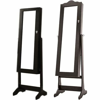 Nishano Jewellery Cabinet Floor Standing Mirror Storage Bedroom Furniture Black