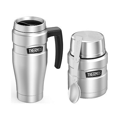 Thermos Vacuum Insulated Stainless Steel Travel Mug And Food Jar w/ Spoon 16oz