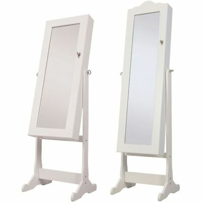 Nishano Jewellery Cabinet Floor Standing Mirror Storage Bedroom Furniture White