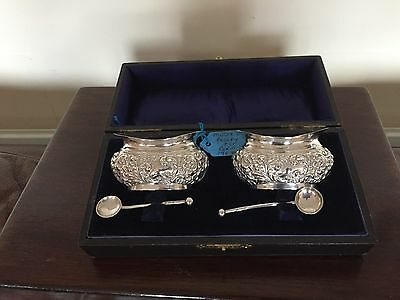 Beautiful Pair Of Repousee Solid Silver Salts And Spoons In A Fitted Case