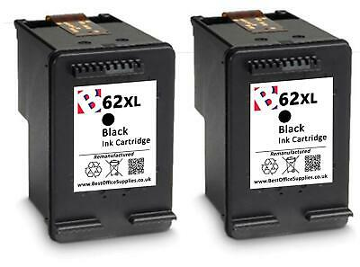 2 x 62 XL Black Remanufactured Ink Cartridges For HP Officejet 5740 Printers