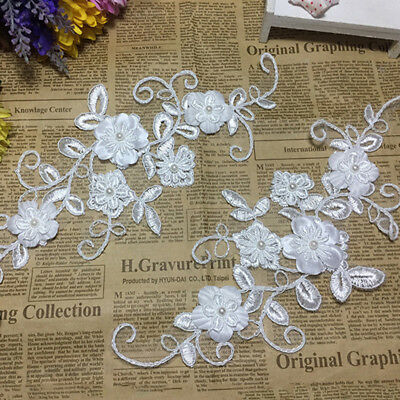 Nice Beaded Flower Lace Applique Sew On Bridal Wedding  Dress Patch Trims Motif