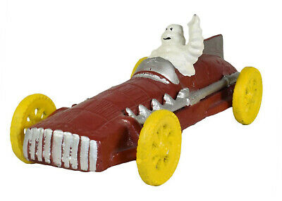 Waving Michelin Man in Red Racing Car - Moving Wheels - Cast Iron Ornament