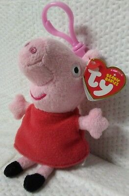 Nwt Peppa Pig Ty Beanie Babies Key Clip On Backpack Hanger Toy Plush New W/ Tags