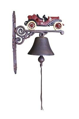 Red Vintage Classic Car - Painted Cast Iron Outdoor Garden Bell
