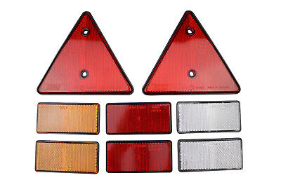 Reflector Deal - Stick on 2x Red 2x Amber 2x White and 2 Screw on Red Triangle
