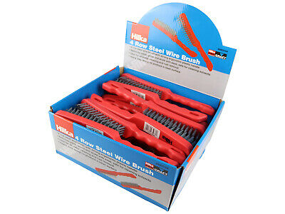 Hilka Display Box 24 Wire Brushes 4 Row Steel Brush Red Handle 49903104