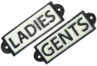 Toilet Signs - 1x Ladies 1x Gents- Cast Iron Door Sign Plaques