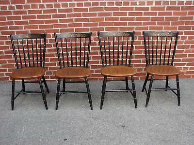 4 Solid Maple Black Stenciled Hitchcock Chairs