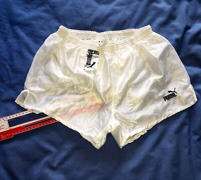 Puma New with tags vintage white satin nylon shorts D6 oldstock