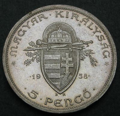 HUNGARY 5 Pengo 1938 - Silver - Death of St. Stephan - VF/XF - 362