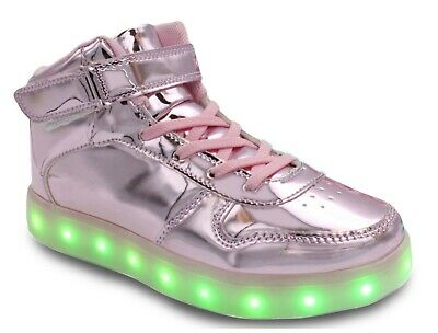 17a6434ba22e Galaxy LED Shoes Light Up USB Charging High Top Lace   Strap Kids Sneakers  Pink