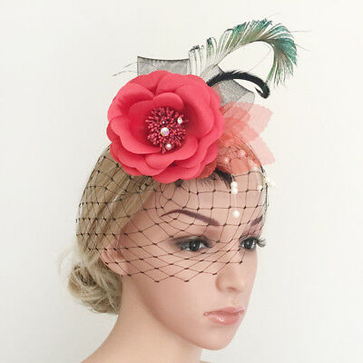 Retro Peacock Feather Hair Clip Fascinator Hairpin Headpiece for Wedding