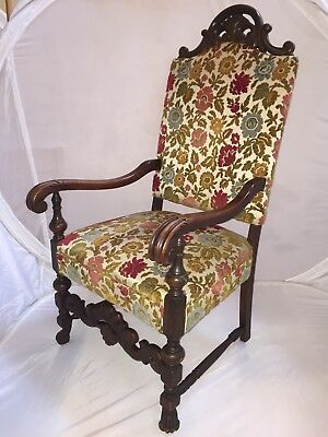 Antique Carved Victorian Empire Wood High Back Throne King Queen Arm Chair
