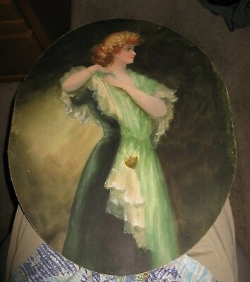 Gorgeous Signed Oval Pastel Lady at Mirror After Gibson Romney Christy