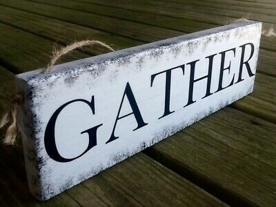 Handmade Rustic Primitive Country Wood Sign Vintage GATHER THEME Knotty Pine