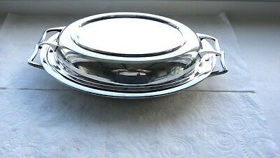 Victorian Silver Plated 3 Piece Oval Handled Tureen Serving Dish (Victorian)