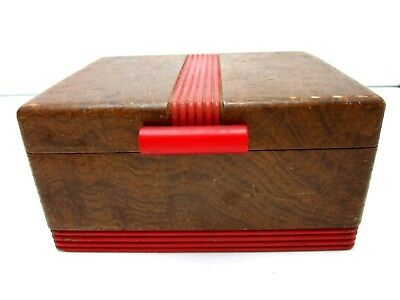 Antique Vintage Wood Card Box with Bakelite handle 1920s Playing Cards Game DECO