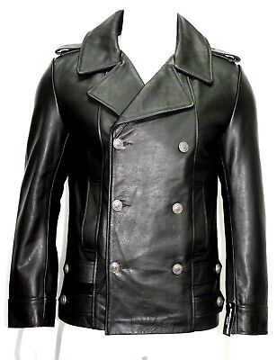 GERMAN PEA COAT Grey Men/'s Classic Reefer Military Hide Leather Jacket Dr Who