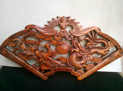 Handwork Camphor Wood Carved Dragon And Phoenix Plate Wall Sculpture
