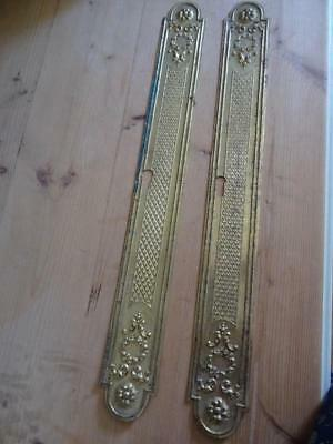 SUPERB PAIR FRENCH antique BRASS door FINGER PLATE c1890 shabby CHATEAU chic