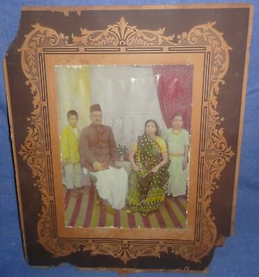 Vintage Rare Collectible Group Painted Photograph Of Royal Indian Family