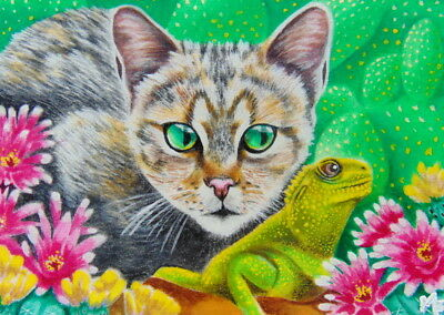 ACEO Original Miniature Painting Cat Lizard Flower Cactus Nature Landscape Art