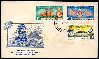 Pitcairn Island - 1961 Return from Norfolk Island First Day Cover