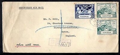 Sarawak - 1949 UPU Issues on Registered Airmail Cover