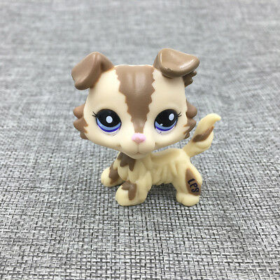 Littlest Pet Shop Cream Tan LPS#2210 Brown Collie Dog Blue Eyes Puppy Happy Toy