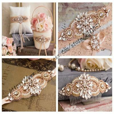 1 PCS Rhinestone Appliques For Wedding Belt Rose Gold Crystal Beads Sew On Rhine