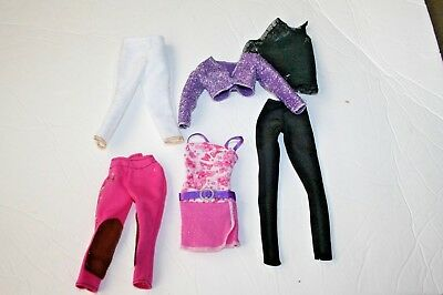 Barbie doll misc clothing lot dress jacket horse riding  6 items clothes fashion