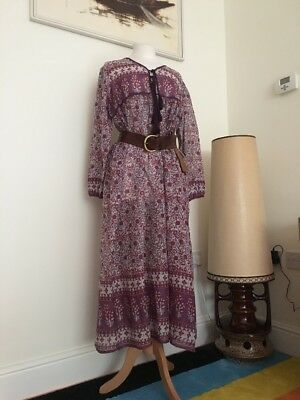 Indian Block Print Cotton Gauze Hippy 70 S Smock Style Dress Size Xl 14/16