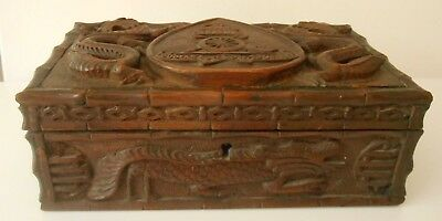 Royal Artillery Regiment Army Gunners Motto & Chinese Dragons Carved Wood Box 5*