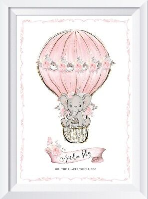 Personalised baby name print picture elephant nursery art wall decor christening