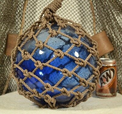 Vintage Glass Fishing Float In Light Cobalt Blue