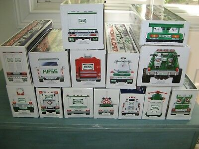 HESS trucks, 1996-2009, New In Box, Set of 14 with original boxes and bags