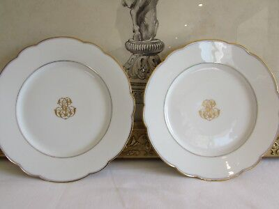 Lovely pair of antique French monogrammed  small plates